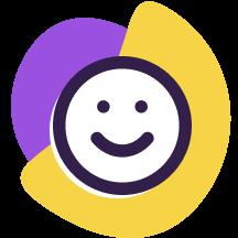 Ícone de uma carinha feliz acima de formas geométricas roxa e amarela