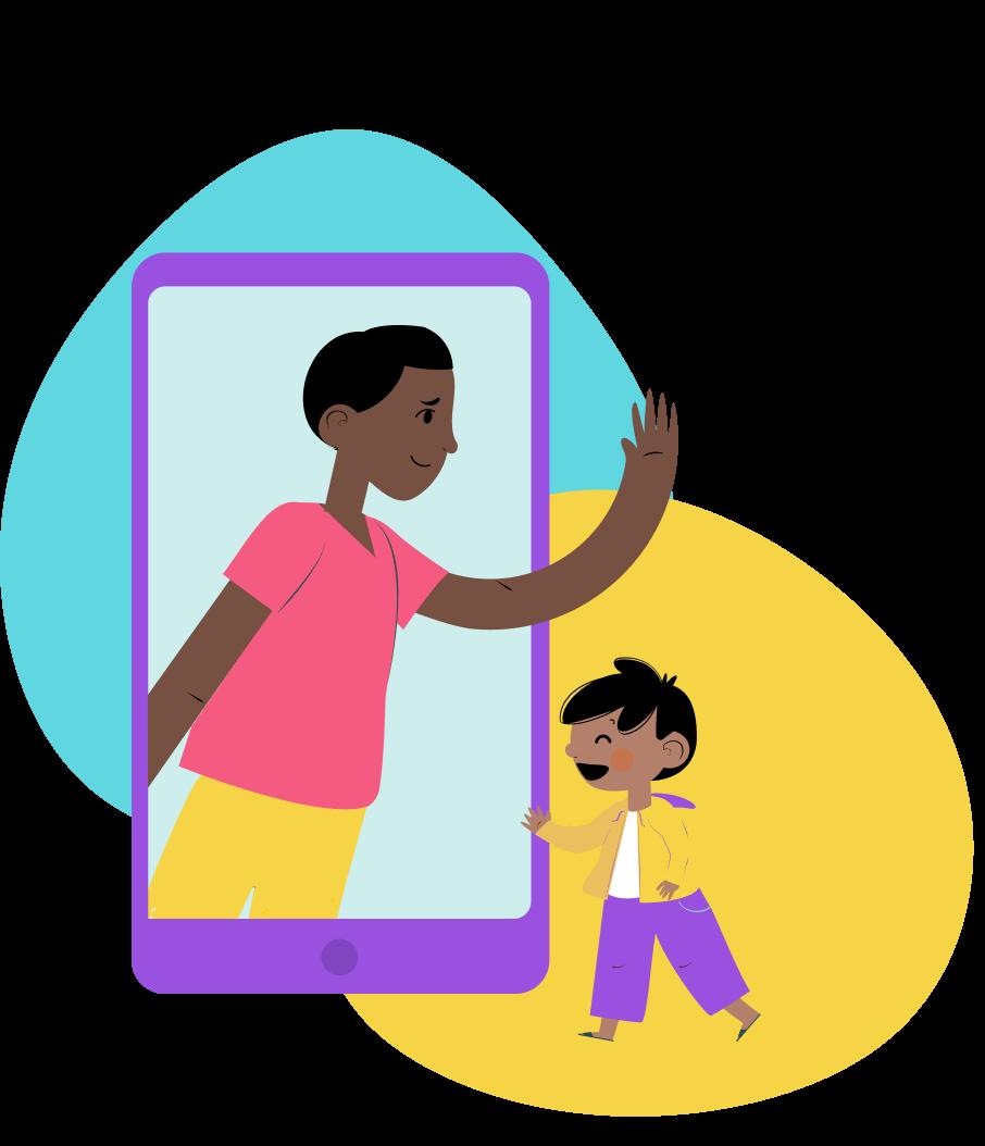 Ilustração de um homem dentro de um celular acenando para um menino fora