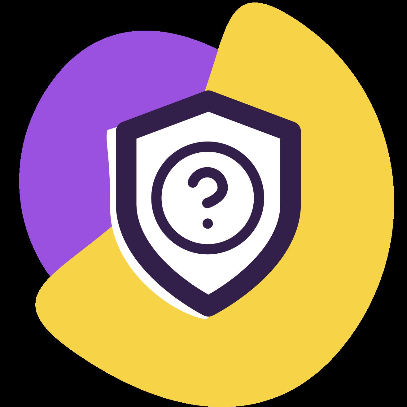 Ilustração de um escudo com um símbolo de interrogação dentro e, atrás, formas geométricas roxa e amarela