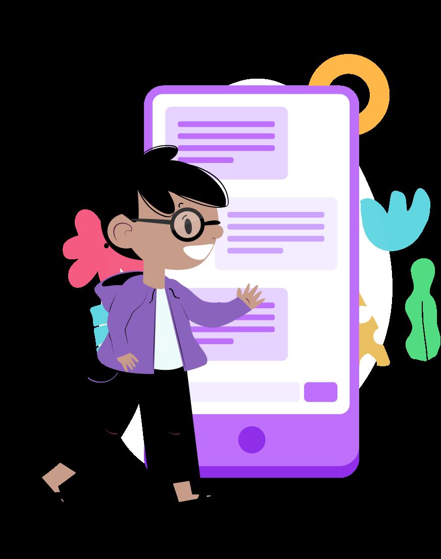 Ilustração de um menino de óculos apresentando a interface de um celular gigante