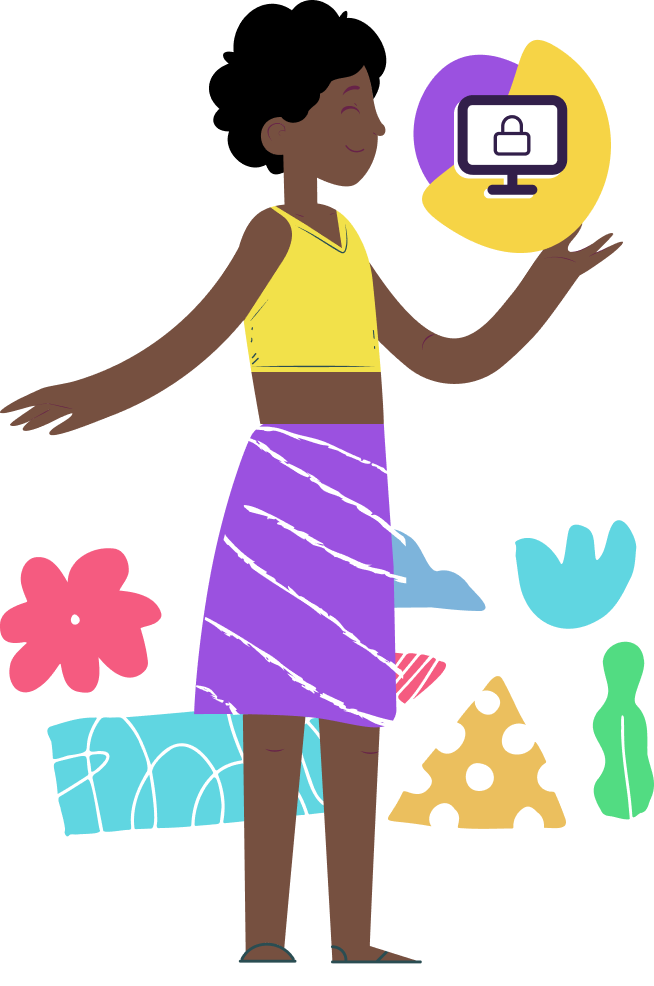 Ilustração de uma mulher mostrando um ícone de uma tela de computador com um cadeado, ilustrando a segurança na Web, com formas geométricas atrás