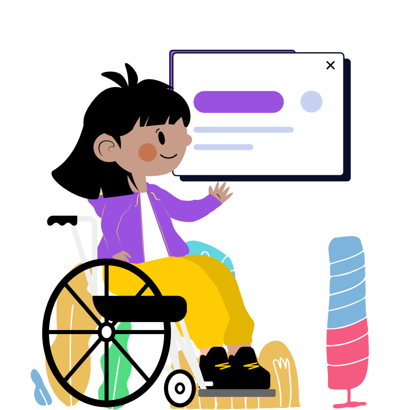 Ilustração de menina cadeirante mostrando a imagem de uma interface flutuando