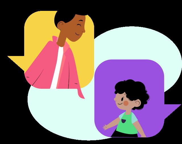 Ilustração de um homem e um menino dentro de balões de diálogo um de frente para outro