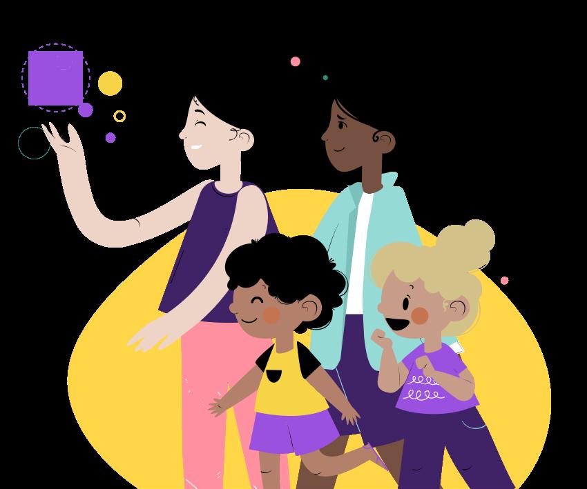 Ilustração de mulheres e meninas sorrindo com formar geométricas em volta