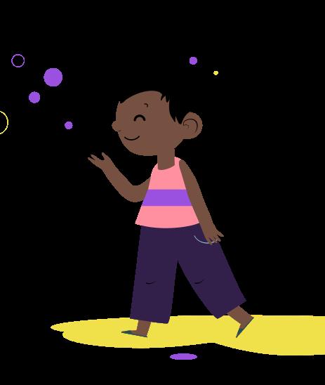 ilustração de um menino com formas geométricas em sua volta
