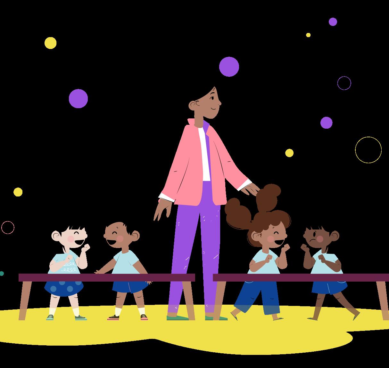 Ilustração de crianças em sala de aula e professora sorrindo entre as mesas