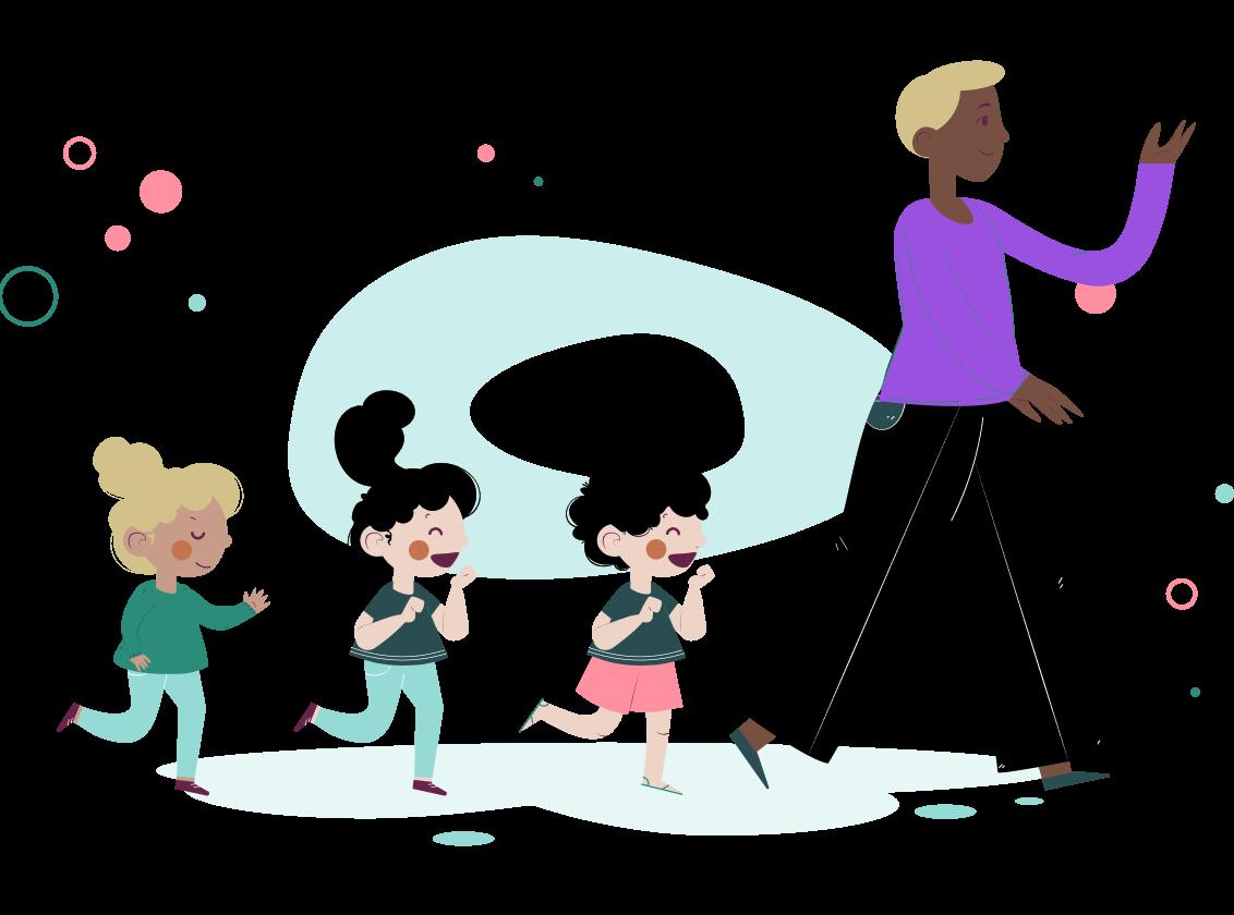 Ilustração de crianças sorrindo em fila atrás de sua professora