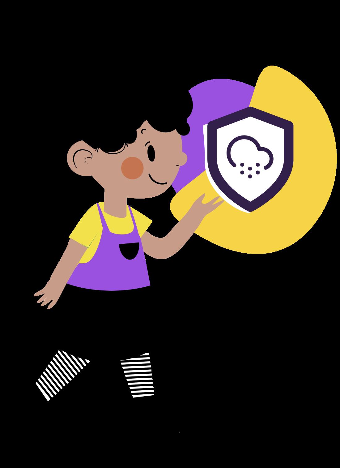 Ilustração de menina apresentando o ícone de um escudo com um símbolo de nuvem chovendo dentro e, atrás do ícone, formas geométricas roxa e amarela