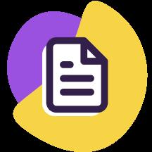 Ícone de uma folha de documento, ilustrando as leis de dados pessoais, e formas geométricas roxa e amarela atrás