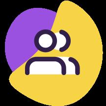 Ícone com duas formas humanas ilustrando usuários da internet em cima de formas geométricas roxa e amarela