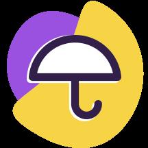 Ícone de um guarda-chuva, representando proteção de dados, por cima de formas geométricas roxa e amarela